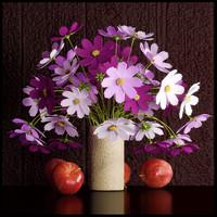 3d model flower vase cosmos