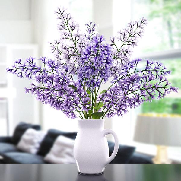 3d model vase lavender flower