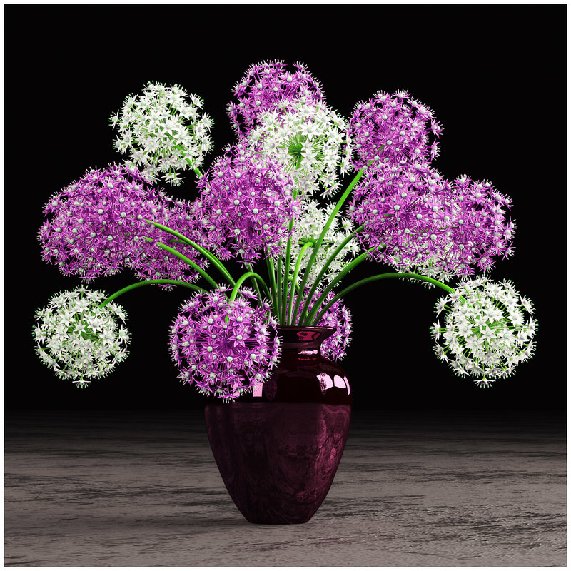 3d model vase onion flowers