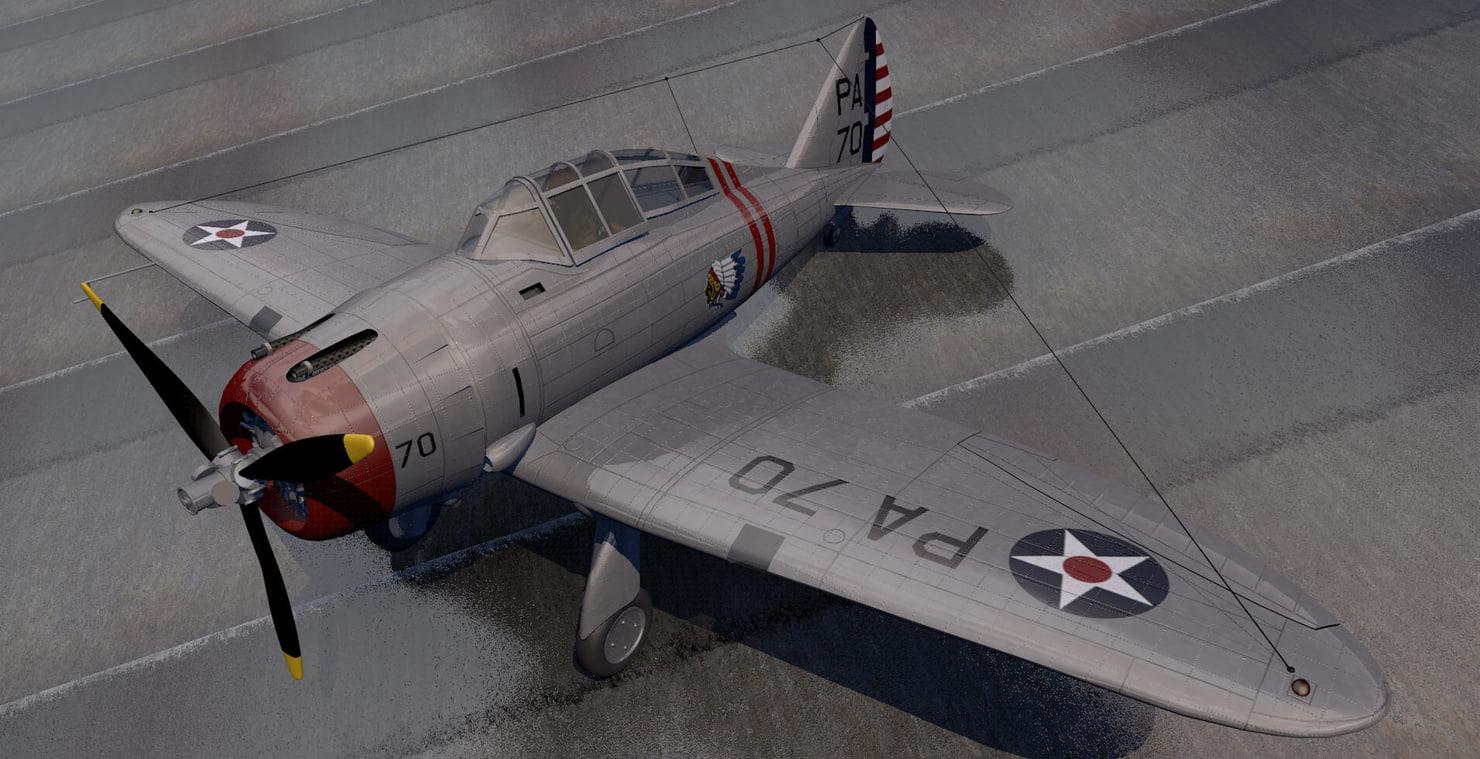 seversky p-35 fighter aircraft 3d 3ds