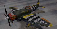 3d model republic p-47c thunderbolt fighter aircraft