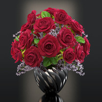 red roses flowers 3d max