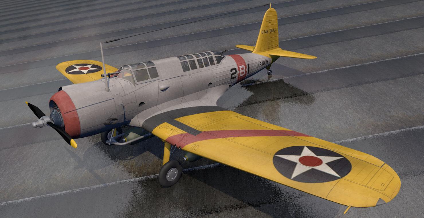 vought vindicator bomber 3d model