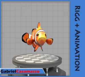 3d model clow-fish amphiprion ocellaris