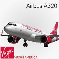 3d airbus a320 virgin america