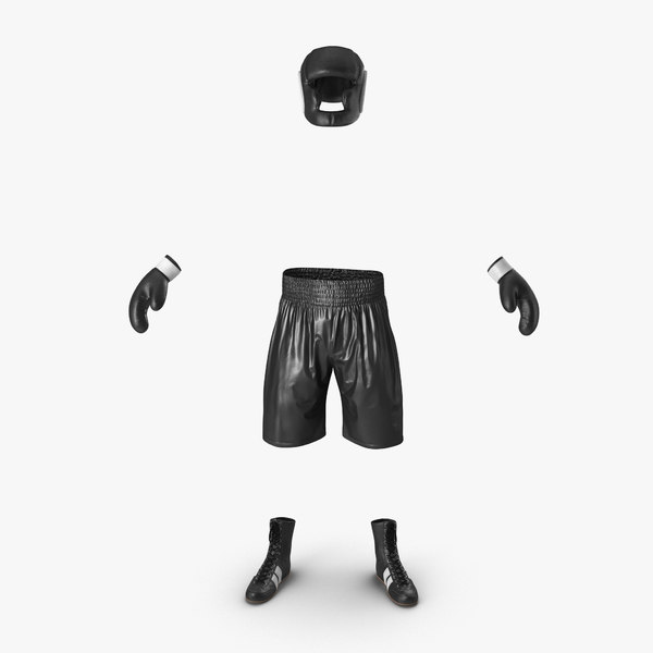 3d model of boxing gear black