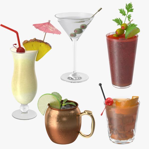 5 cocktails 3d max
