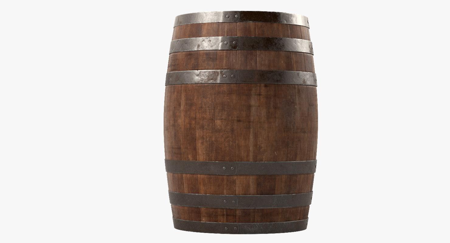 3d model wooden barrel