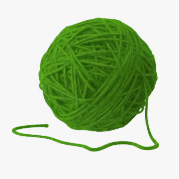3d model green ball yarn