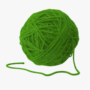 3d model green ball yarn