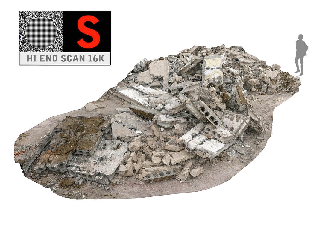 demolished building scanned 3d obj