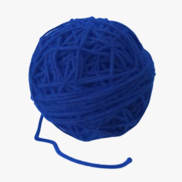blue ball yarn 3d model