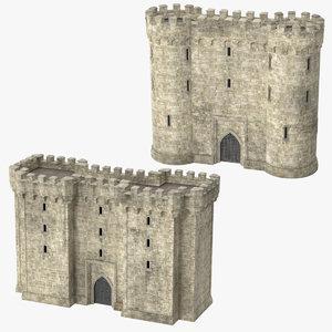 3d model castle gatehouses