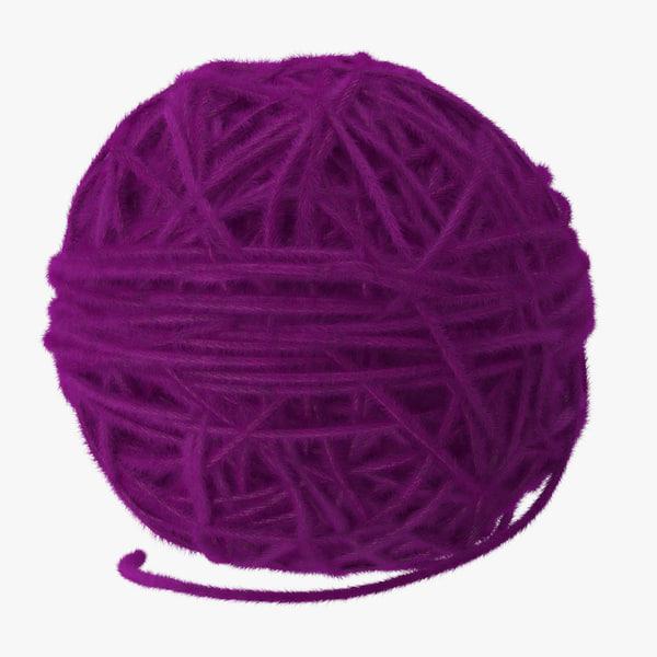 purple ball yarn 3d model