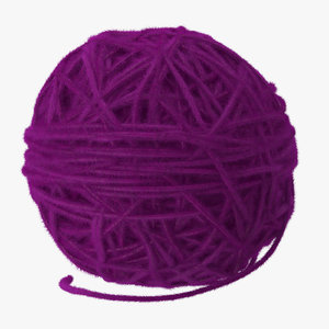 purple ball yarn 3d model