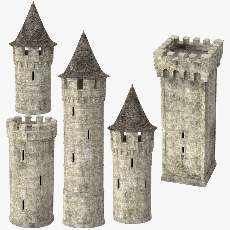 3d castle turrets model