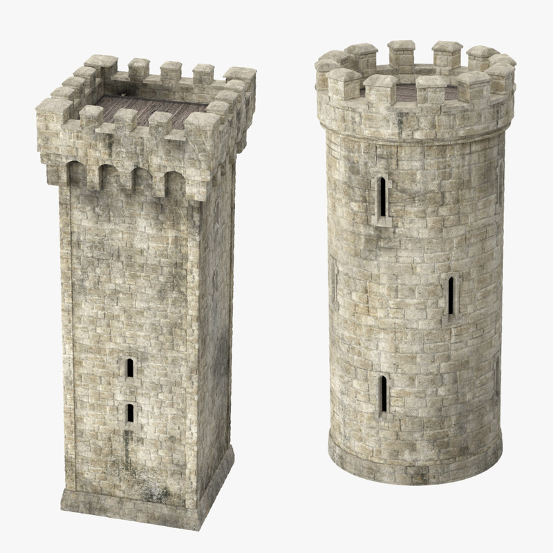 square turrets 3d model