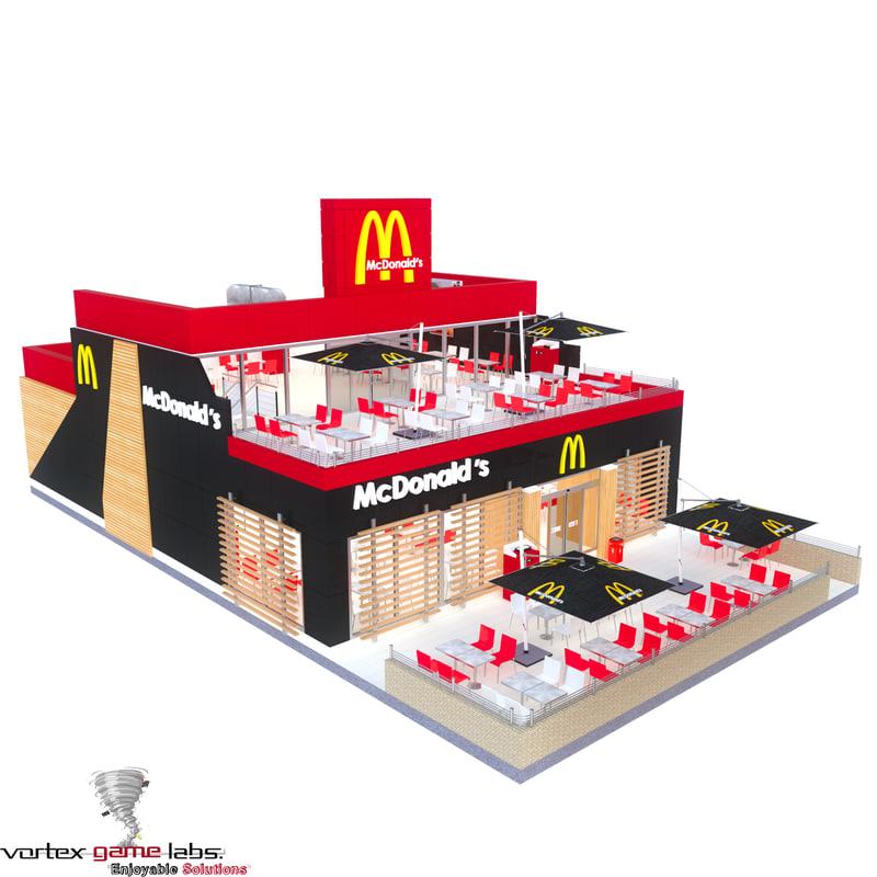 mc donalds restaurant mcdonalds 3d model
