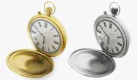 3d model golden pocket watch
