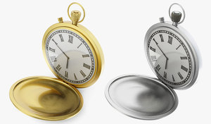 3d model golden pocket watch