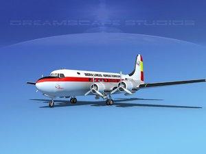 3d dc-4 airlines model
