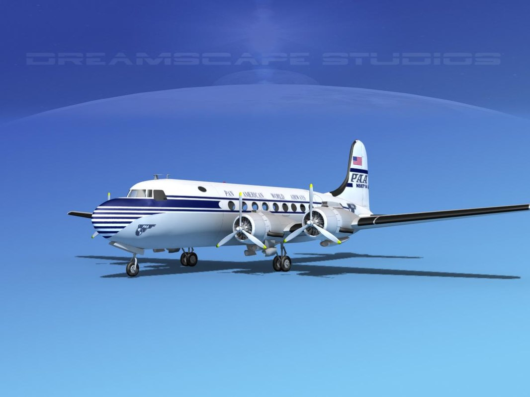 dc-4 airlines 3d dwg