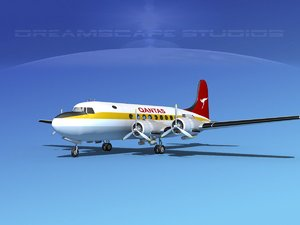 dc-4 airlines 3d model