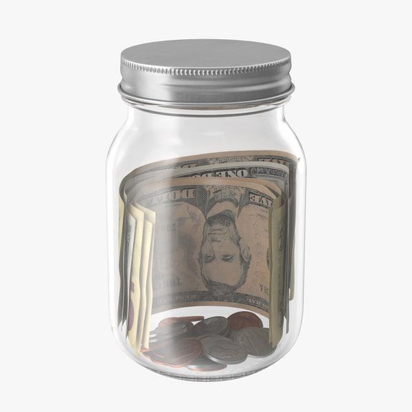 glass jar currency 01 3d model
