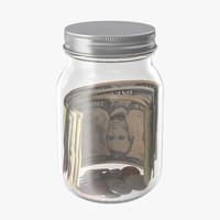 glass jar currency 01 3d model