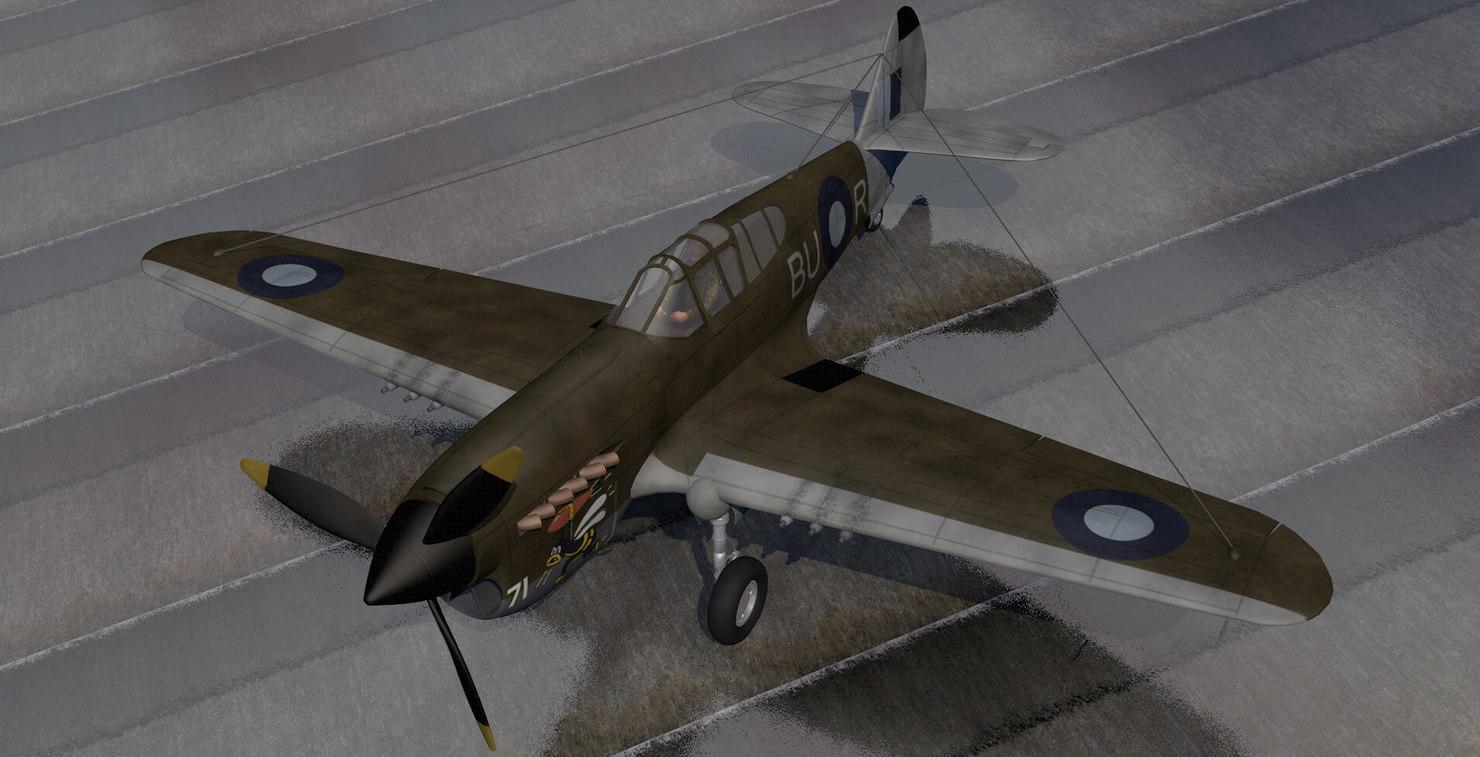 3d curtiss kittyhawk raaf fighter aircraft model
