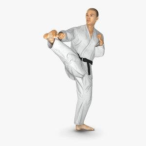 3d model japanese karate fighter pose