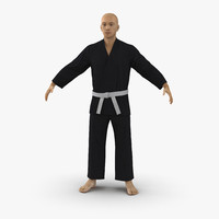 3d japanese karate fighter black