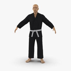 3d japanese karate fighter black