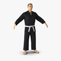 japanese karate fighter black 3d max