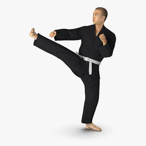 3d model japanese karate fighter black