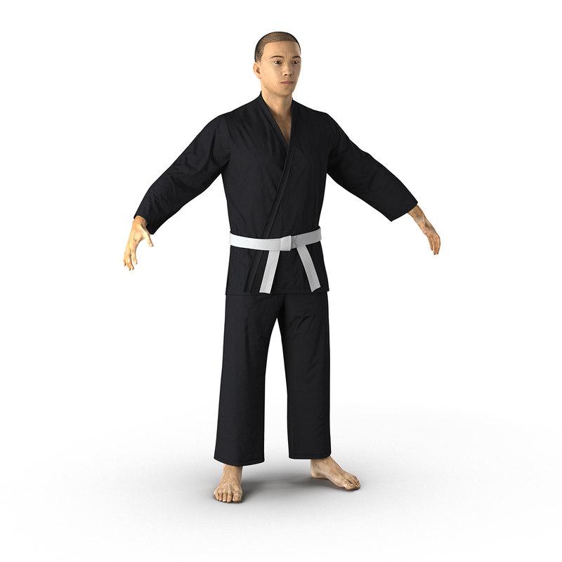 japanese karate fighter black 3d max