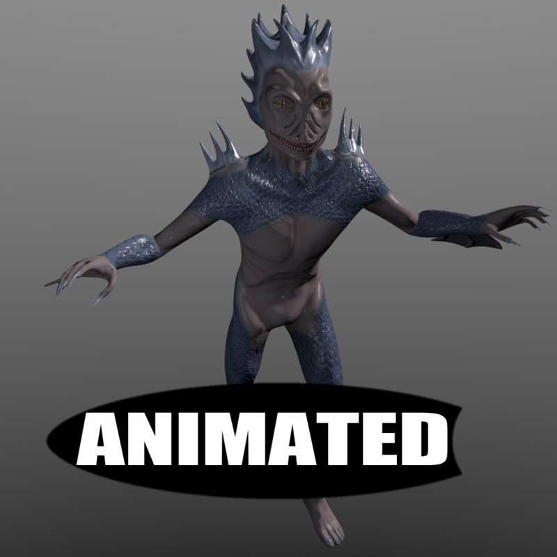 3d merman rigged animations model