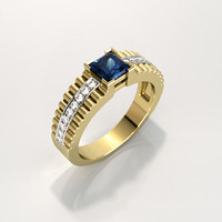 Men's ring with square gemstone 012