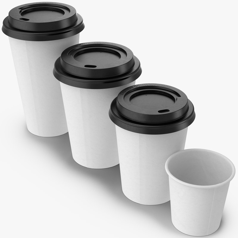 coffee cups takeout 2 3d model
