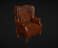 3d model worn leather chair office