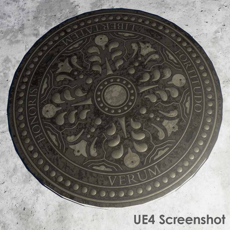 3d model pbr manhole cover