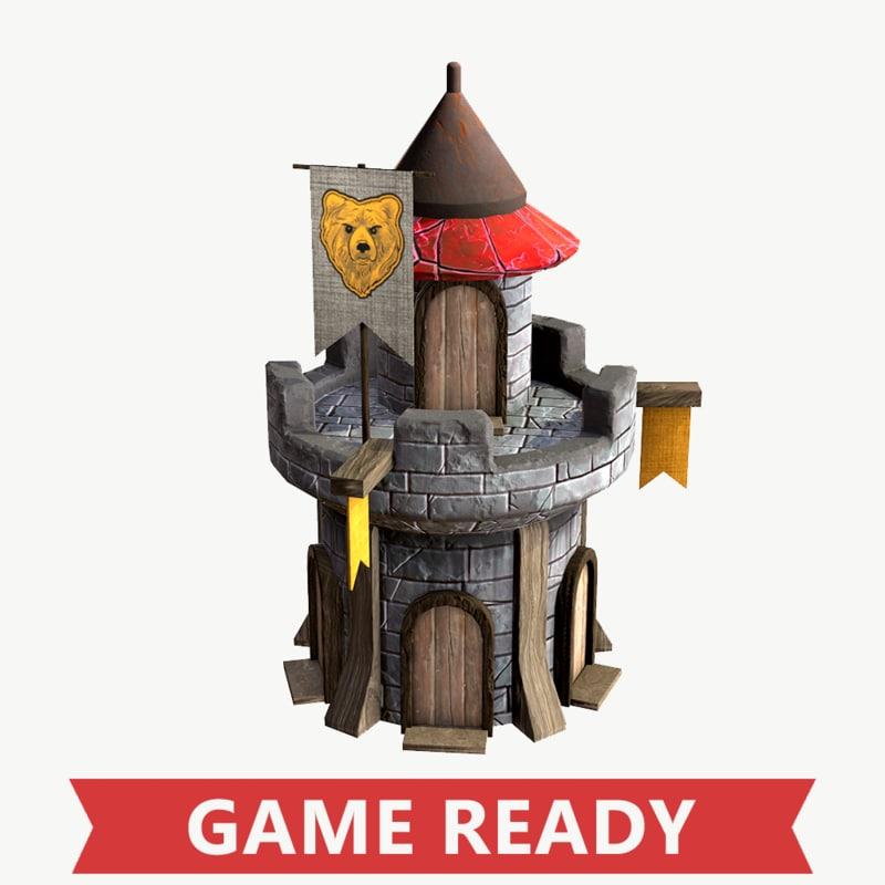 medieval defense tower fbx