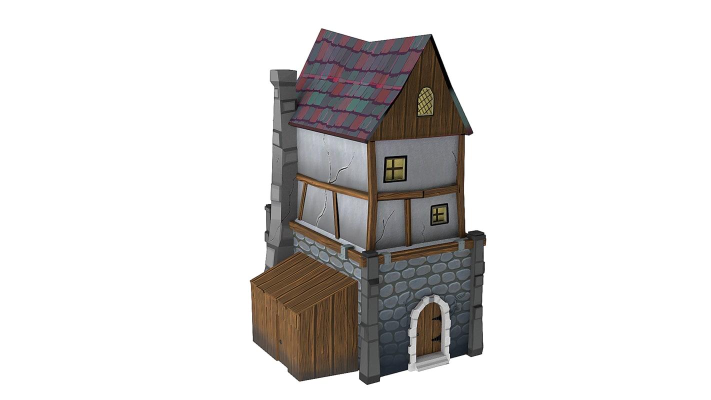 cartoon style building 3d model