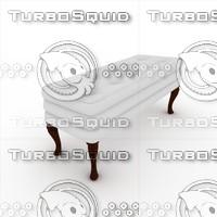 3d model white bench