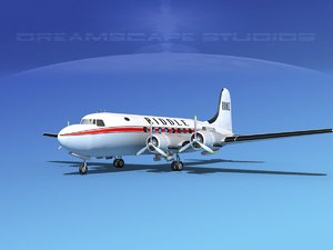 dc-4 airlines 3d max