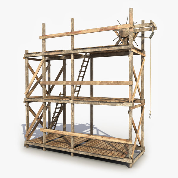 3d old scaffolding wooden