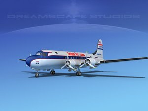 dc-4 united airlines 3d model