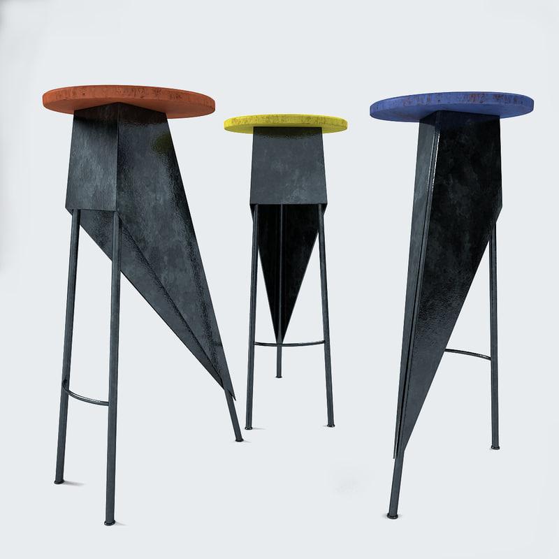 3d model set stools manner pierre