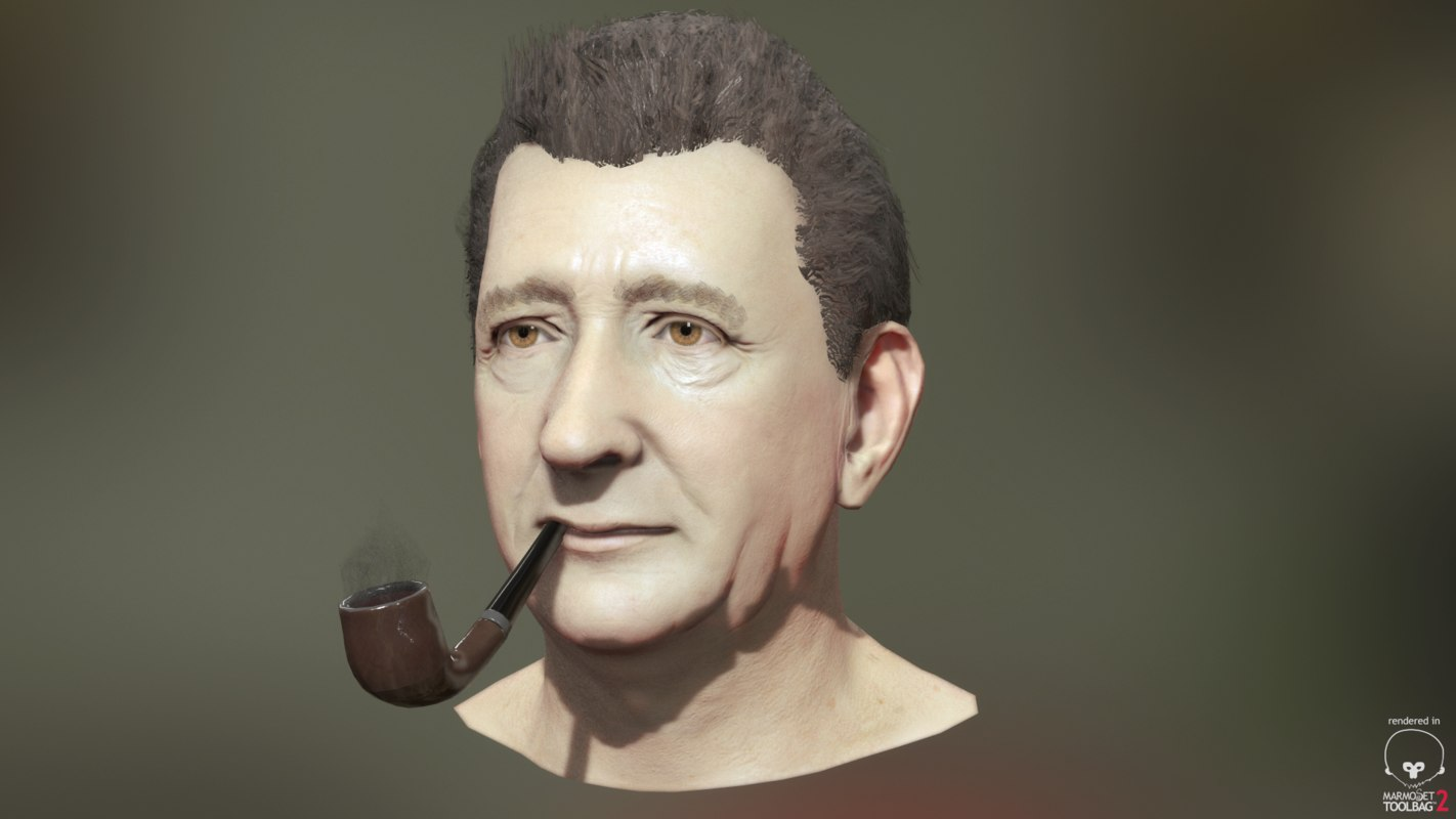 3d head old man