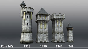 medieval castle towers wall 3d model